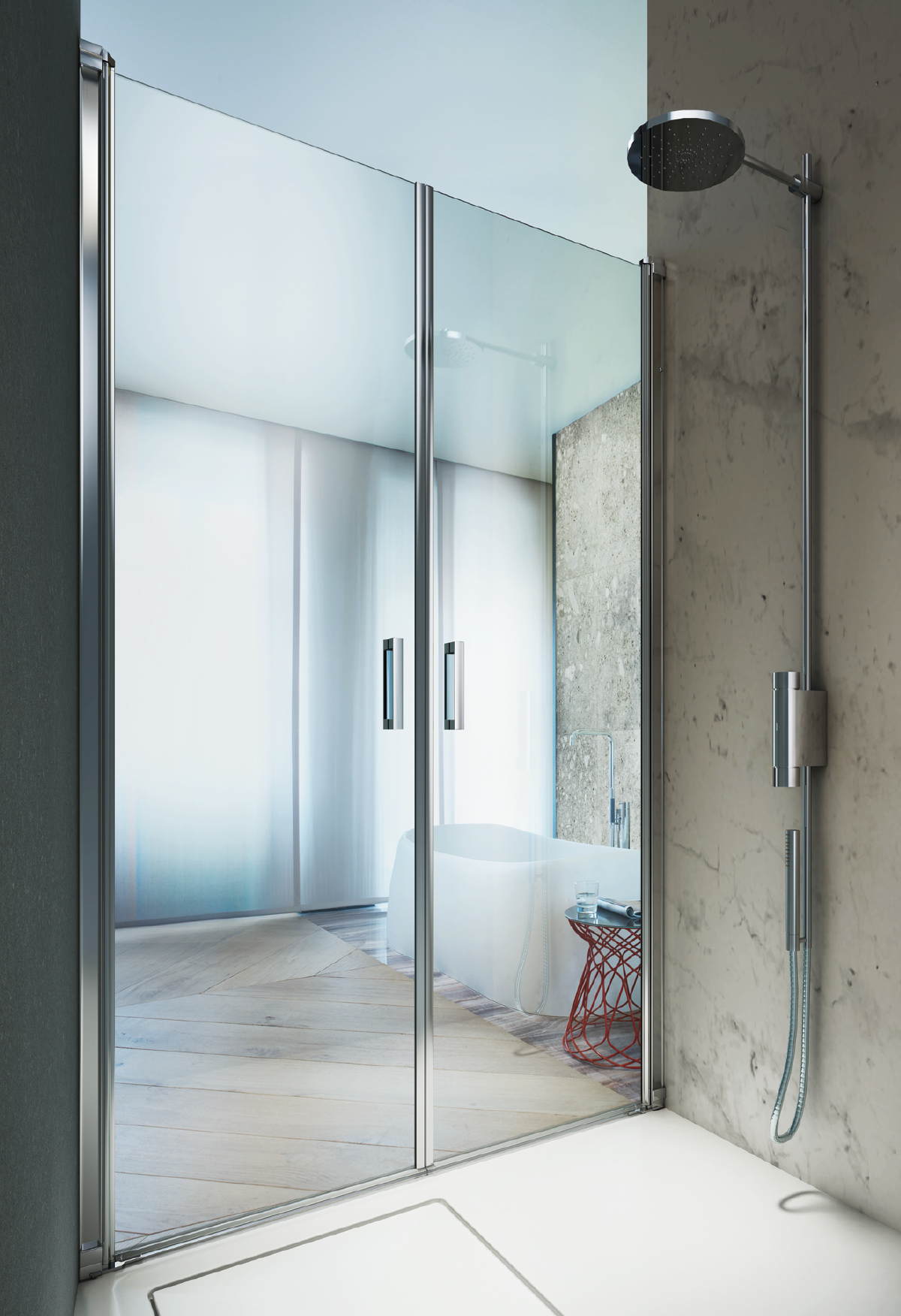 Shower enclosure for people with reducing mobility