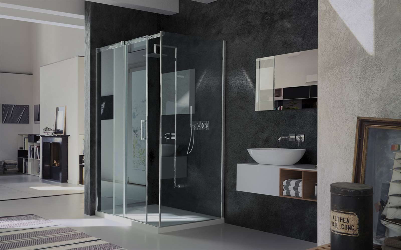 Gliss | Sliding shower enclosure with floating sliders.